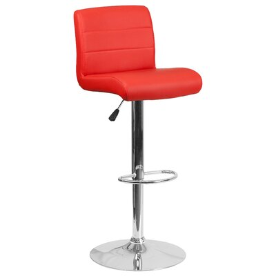 Cavanaville Adjustable Height Swivel Bar Stool Seat Color: Red