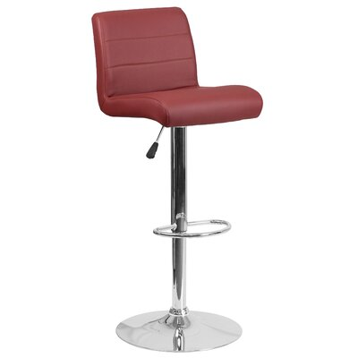 Adjustable Height Swivel Bar Stool Seat Color: Burgundy