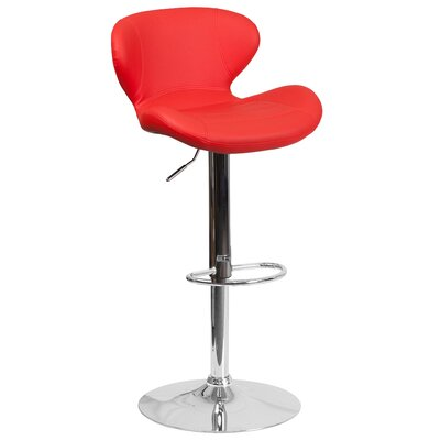 Norvell Adjustable Height Swivel Bar Stool Seat Color: Red