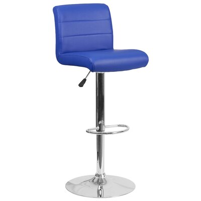 Cavanaville Adjustable Height Swivel Bar Stool Seat Color: Blue