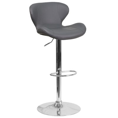 Adjustable Height Swivel Bar Stool Seat Color: Gray
