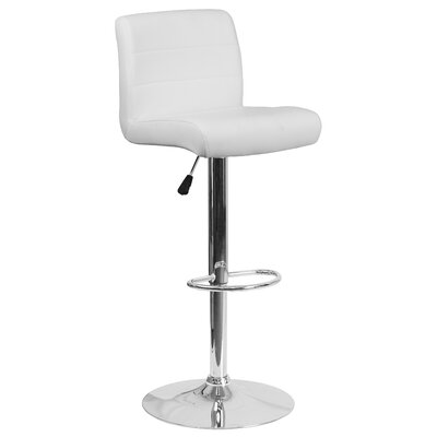 Cavanaville Adjustable Height Swivel Bar Stool Seat Color: White