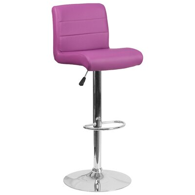 Adjustable Height Swivel Bar Stool Seat Color: Purple