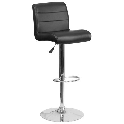 Cavanaville Adjustable Height Swivel Bar Stool Seat Color: Black