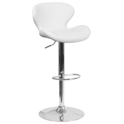 Adjustable Height Swivel Bar Stool Seat Color: White