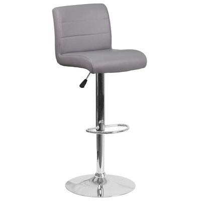 Cavanaville Adjustable Height Swivel Bar Stool Seat Color: Gray