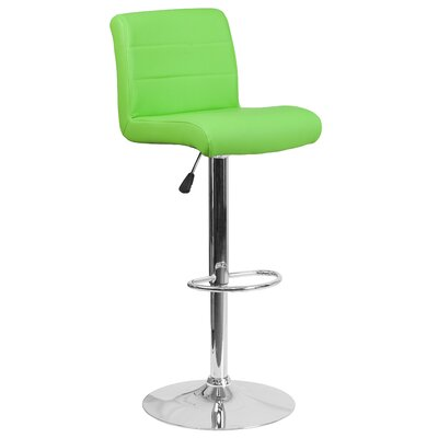 Adjustable Height Swivel Bar Stool Seat Color: Green