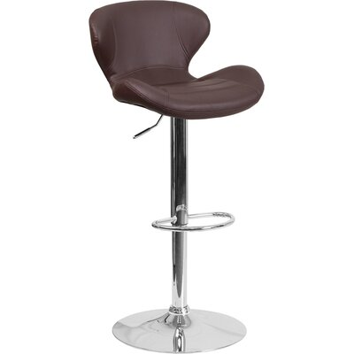 Norvell Adjustable Height Swivel Bar Stool Seat Color: Brown