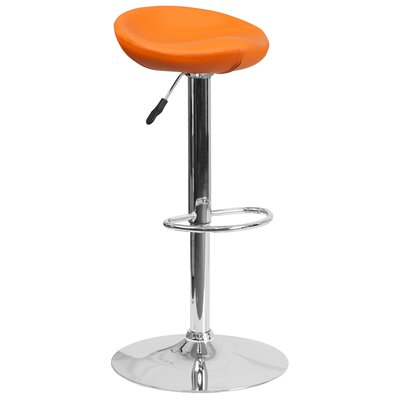 Adjustable Height Swivel Bar Stool Finish: Orange