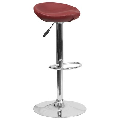 Nowak Adjustable Height Swivel Bar Stool Finish: Burgundy