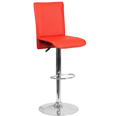 Noone Adjustable Height Swivel Bar Stool Upholstery: Red