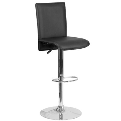Noone Adjustable Height Swivel Bar Stool Upholstery: Black