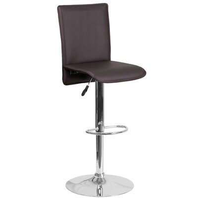 Noone Adjustable Height Swivel Bar Stool Upholstery: Brown