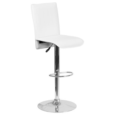 Noone Adjustable Height Swivel Bar Stool Upholstery: White