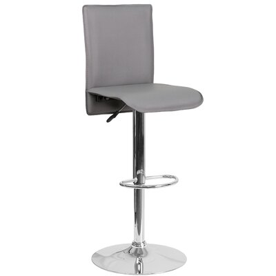 Noone Adjustable Height Swivel Bar Stool Upholstery: Gray