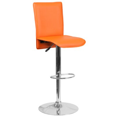 Noone Adjustable Height Swivel Bar Stool Upholstery: Orange