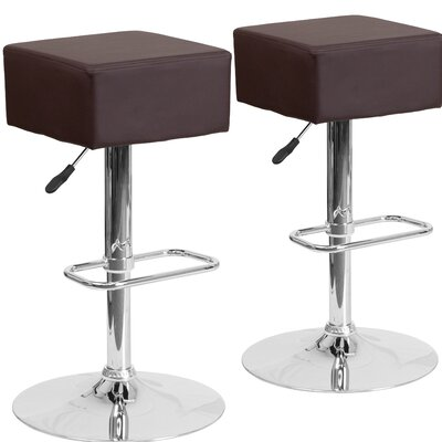Norcross Adjustable Height Swivel Bar Stool Upholstery: Brown