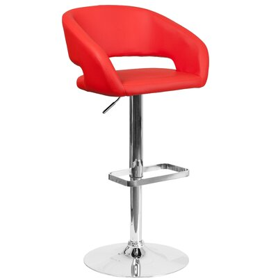 Nolte Adjustable Height Swivel Bar Stool Upholstery: Red