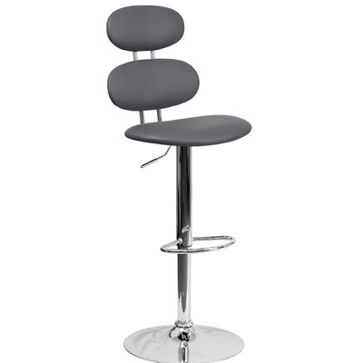 Norberg Adjustable Height Swivel Bar Stool Upholstery: Gray