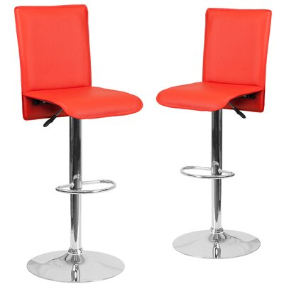 Norby Adjustable Height Swivel Bar Stool Upholstery: Red