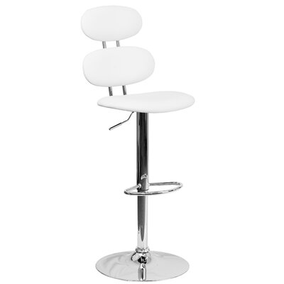 Norberg Adjustable Height Swivel Bar Stool Upholstery: White