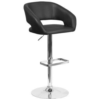 Nolte Adjustable Height Swivel Bar Stool Upholstery: Black
