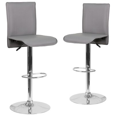 Norby Adjustable Height Swivel Bar Stool Upholstery: Gray