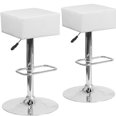 Norcross Adjustable Height Swivel Bar Stool Upholstery: White