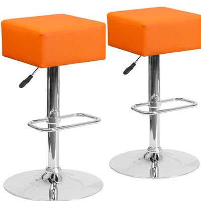 Norcross Adjustable Height Swivel Bar Stool Upholstery: Orange