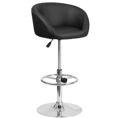 Nordquist Adjustable Height Swivel Bar Stool Upholstery: Black