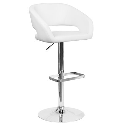 Nolte Adjustable Height Swivel Bar Stool Upholstery: White