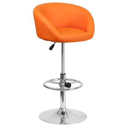 Nordquist Adjustable Height Swivel Bar Stool Upholstery: Orange
