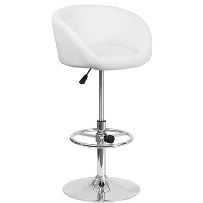 Nordquist Adjustable Height Swivel Bar Stool Upholstery: White