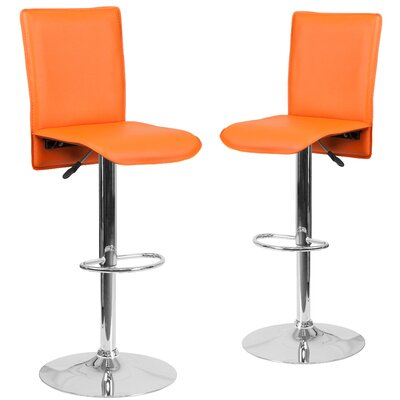 Norby Adjustable Height Swivel Bar Stool Upholstery: Orange