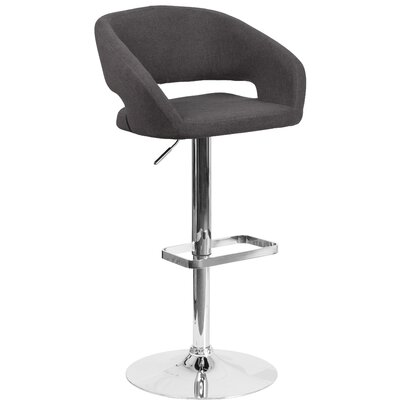 Noonkester Adjustable Height Swivel Bar Stool Upholstery: Charcoal