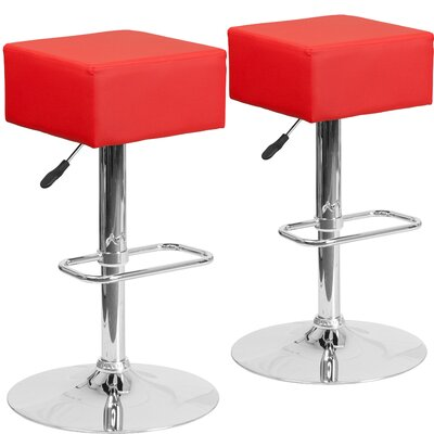 Norcross Adjustable Height Swivel Bar Stool Upholstery: Red