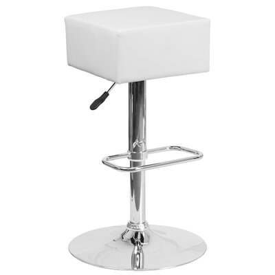 Nordman Adjustable Height Swivel Bar Stool Upholstery: White
