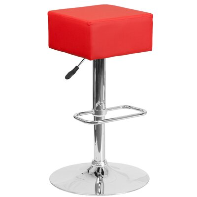 Nordman Adjustable Height Swivel Bar Stool Upholstery: Red