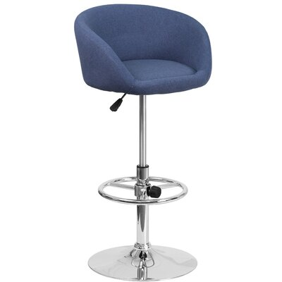 Nordin Adjustable Height Swivel Bar Stool Upholstery: Blue
