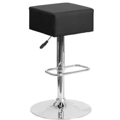 Nordman Adjustable Height Swivel Bar Stool Upholstery: Black