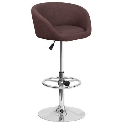 Nordin Adjustable Height Swivel Bar Stool Upholstery: Brown