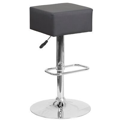 Nordman Adjustable Height Swivel Bar Stool Upholstery: Gray