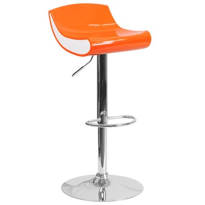 Brescia Adjustable Height Swivel Bar Stool Upholstery: Orange