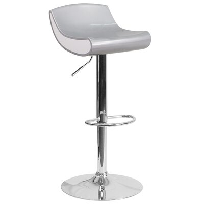 Brescia Adjustable Height Swivel Bar Stool Upholstery: Silver
