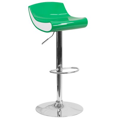 Brescia Adjustable Height Swivel Bar Stool Upholstery: Green