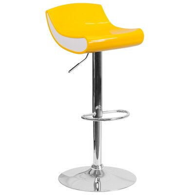 Brescia Adjustable Height Swivel Bar Stool Upholstery: Yellow