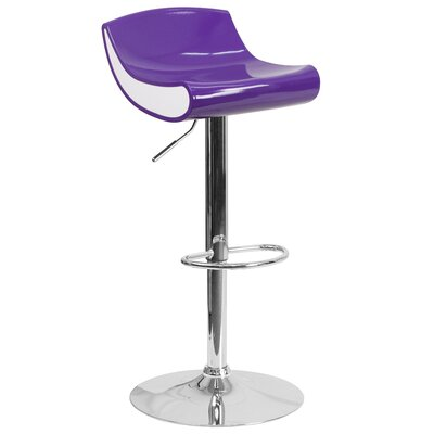 Brescia Adjustable Height Swivel Bar Stool Upholstery: Purple