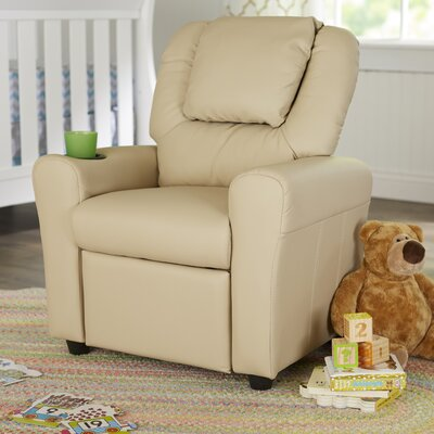Contemporary Personalized Kids Recliner with Cup Holder Color: Beige +BGE-EMB-GG
