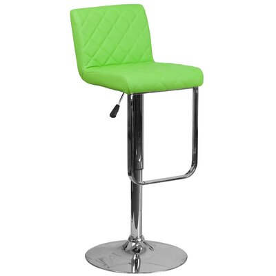 Novello Adjustable Height Swivel Bar Stool Upholstery: Green
