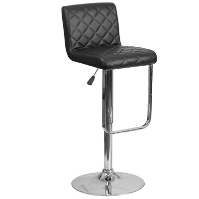 Novello Adjustable Height Swivel Bar Stool Upholstery: Black